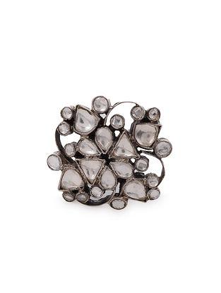 Tribal Kundan Silver Adjustable Ring