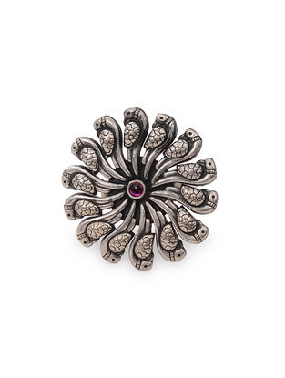Pink Tribal Silver Adjustable Ring