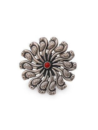 Coral Tribal Silver Adjustable Ring