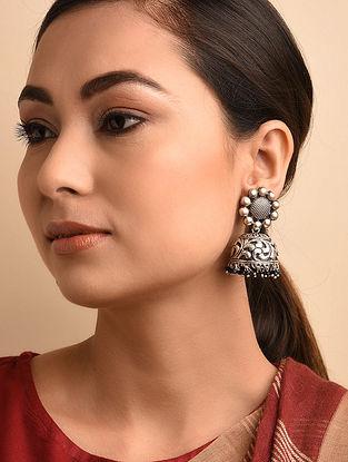 Black Tribal Silver Jhumki Earrings