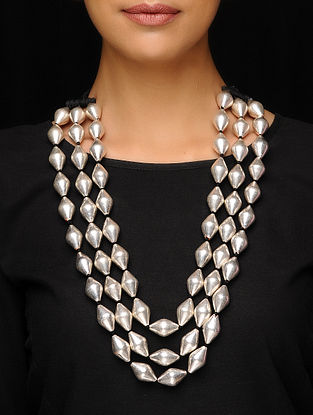 Classic Silver Beaded Necklace