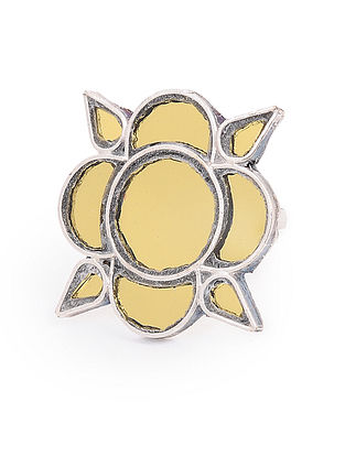 Yellow Glass Tribal Adjustable Silver Ring