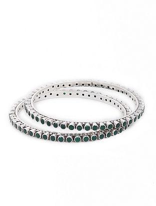 Green Silver Bangles Set of 2 (Bangle Size -2/10)