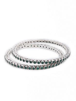 Green Silver Bangles Set of 2 (Bangle Size -2/6)