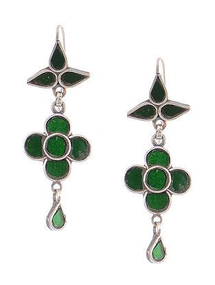 Green Glass Tribal Silver Earrings