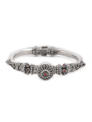 Red Kundan-inspired Hinged Opening Tribal Silver Bangle (Bangle Size -2/12)