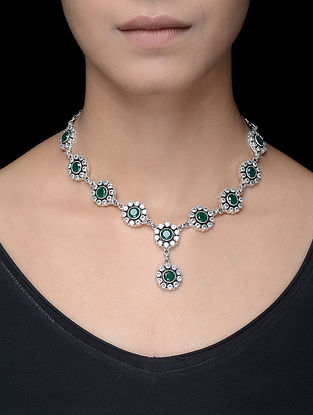 Green Silver Necklace with Floral Design