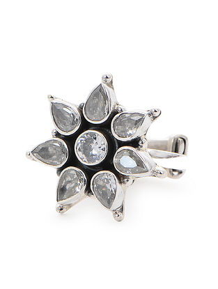 Classic Adjustable Silver Ring with Floral Design