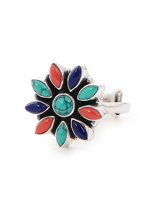 Turquoise and Coral Adjustable Silver Ring with Floral Design