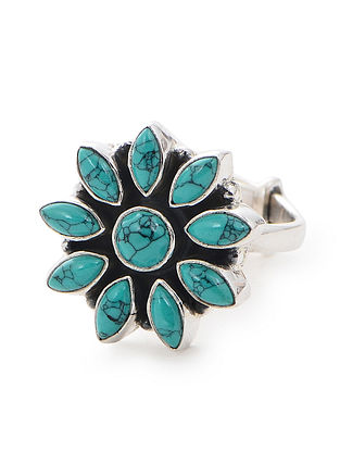 Turquoise Adjustable Silver Ring with Floral Design