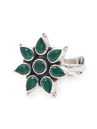 Green Adjustable Silver Ring with Floral Design