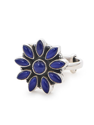 Blue Adjustable Silver Ring with Floral Design