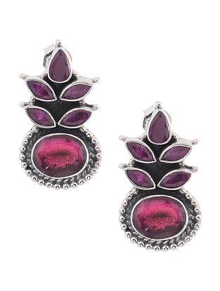 Purple-Pink Silver Earrings