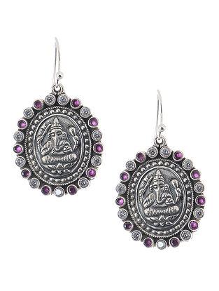 Purple Silver Earrings with Lord Ganesha Motif
