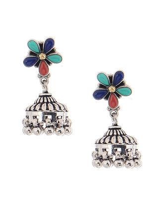 Turquoise and Coral Silver Jhumkis with Floral Design