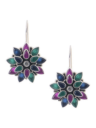 Green-Purple Silver Earrings with Floral Design