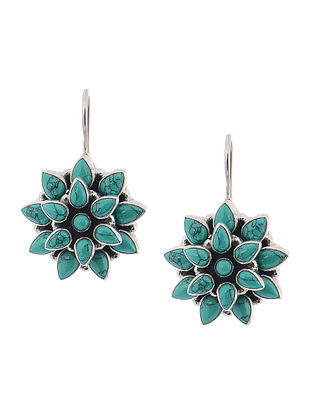 Turquoise Silver Earrings with Floral Design
