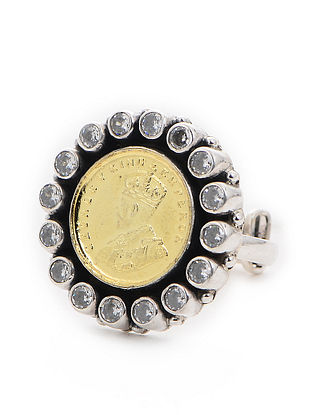 Classic Dual Tone Adjustable Silver Ring with Coin Design