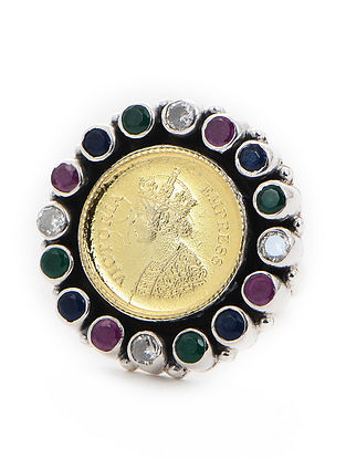 Purple-Green Dual Tone Adjustable Silver Ring with Coin Design