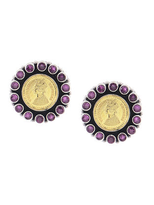 Purple Dual Tone Silver Earrings with Coin Design