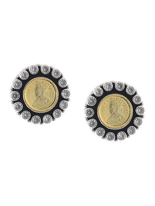 Classic Dual Tone Silver Earrings with Coin Design