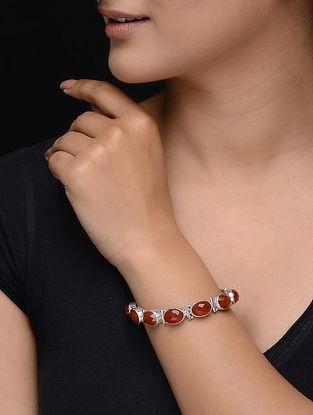 Red Onyx Silver Bracelet