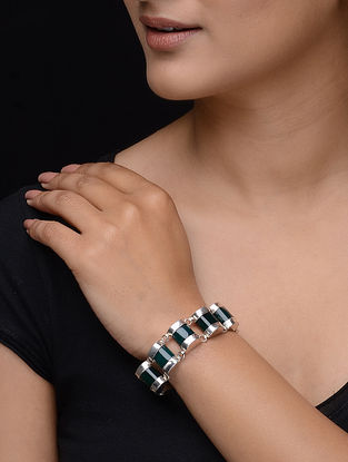 Green Onyx Silver Bracelet