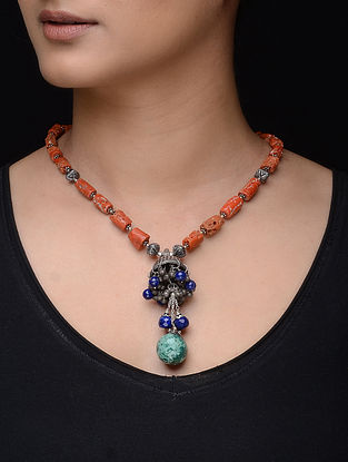 Coral and Turquoise Silver Necklace