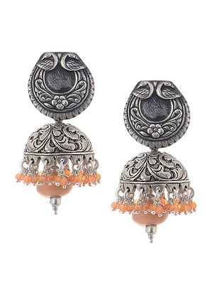 Carnelian Silver Jhumkis with Floral Motif