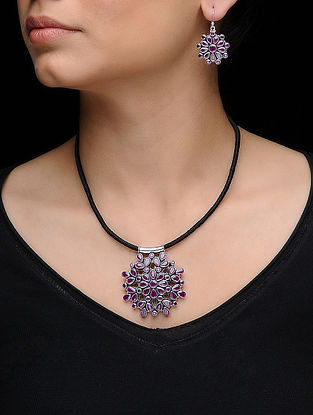 Purple Silver Necklace with a Pair of Earrings (Set of 2)