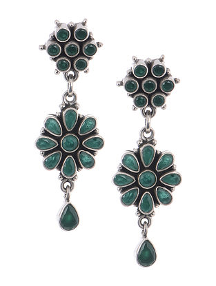 Green Silver Earrings with Floral Design