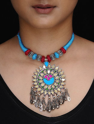 Blue-Red Thread Tribal Silver Necklace