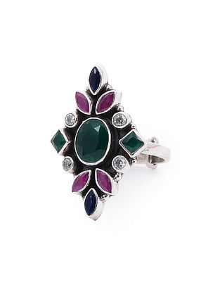 Purple-Green Adjustable Silver Ring