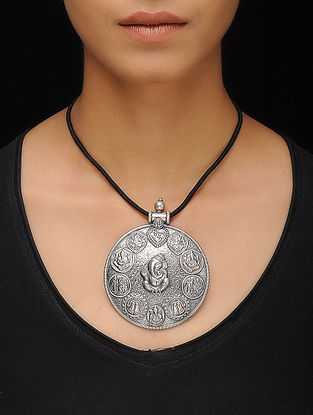 Black Thread Silver Necklace with Deity Motif