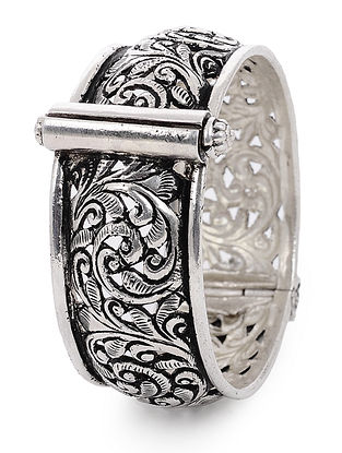 Hinged Opening Tribal Silver Bangle with Floral Motif (Bangle Size -2/4)