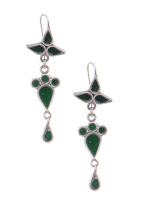 Green Glass Tribal Silver Earrings
