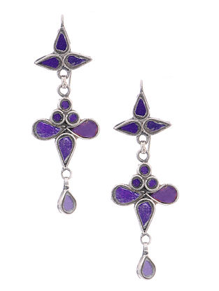 Purple Glass Tribal Silver Earrings