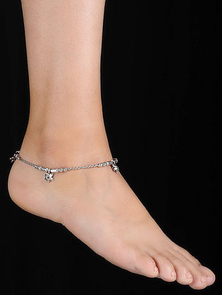 Tribal Silver Anklets with Floral Design (Set of 2)