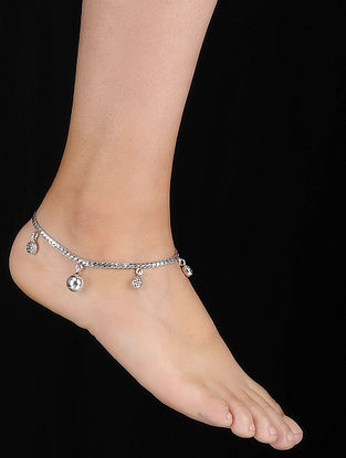 Tribal Silver Anklets with Floral Motif (Set of 2)