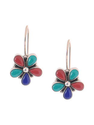 Multicolored Silver Earrings with Floral Design