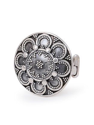 Tribal Silver Ring with Floral Motif