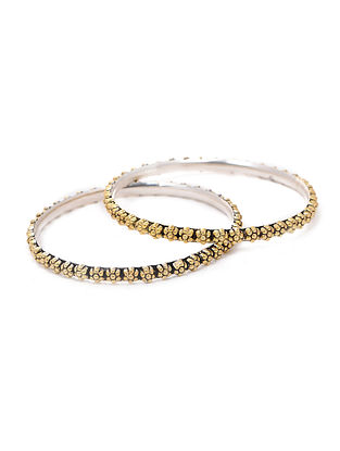 Dual Tone Silver Bangles with Floral Design (Bangle Size -2/6) (Set of 2)