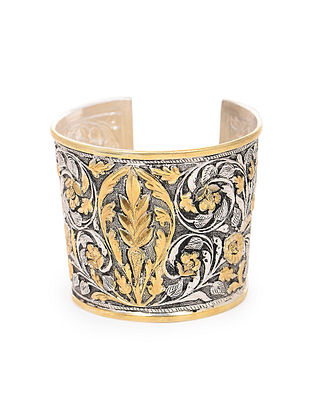Dual Tone Tribal Silver Cuff with Floral Motif