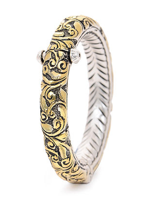 Hinged Opening Dual Tone Silver Bangle with Floral Motif (Bangle Size -2/2)