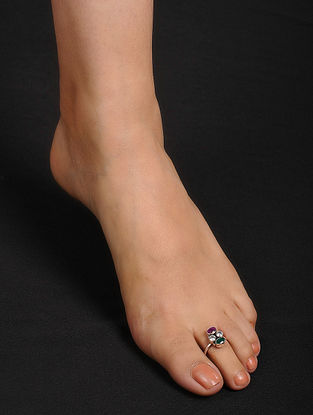 Pink-Green Adjustable Silver Toe Rings (Set of 2)