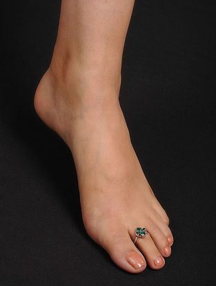 Green Adjustable Silver Toe Rings (Set of 2)