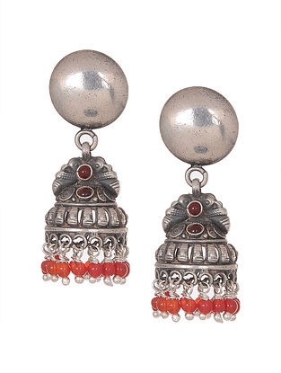 Pink-Red Tribal Silver Jhumkis