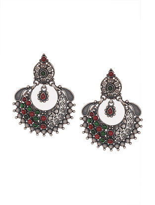 Red-Green Tribal Silver Earrings