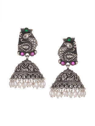 Pink-Green Tribal Silver Jhumkis with Peacock Motif