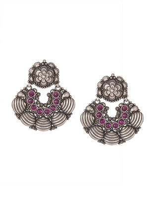 Pink Tribal Silver Earrings with Floral Motif